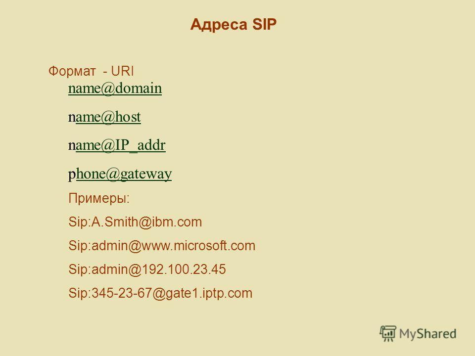 Адреса SIP Формат - URI name@domain name@hostame@host name@IP_addrame@IP_addr phone@gatewayhone@gateway Примеры: Sip:A.Smith@ibm.com Sip:admin@www.microsoft.com Sip:admin@192.100.23.45 Sip:345-23-67@gate1.iptp.com