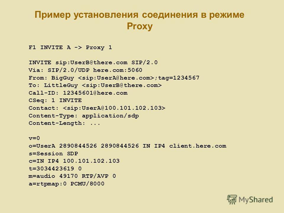Пример установления соединения в режиме Proxy F1 INVITE A -> Proxy 1 INVITE sip:UserB@there.com SIP/2.0 Via: SIP/2.0/UDP here.com:5060 From: BigGuy ;tag=1234567 To: LittleGuy Call-ID: 12345601@here.com CSeq: 1 INVITE Contact: Content-Type: applicatio