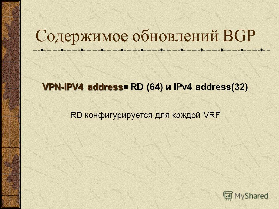 Содержимое обновлений BGP VPN-IPV4 address VPN-IPV4 address = RD (64) и IPv4 address(32) RD конфигурируется для каждой VRF