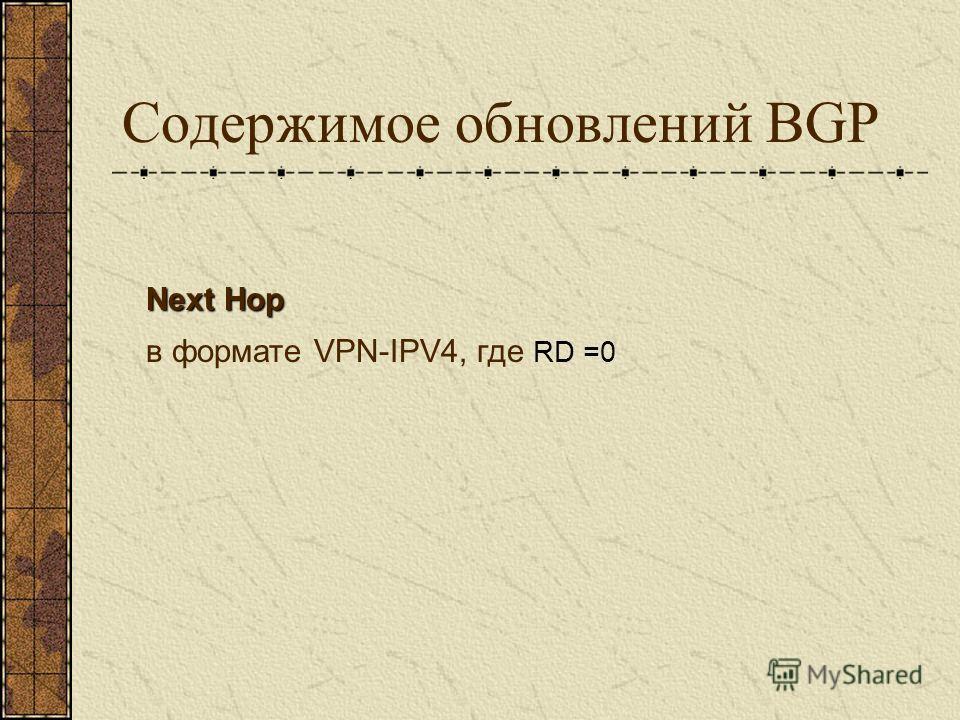 Содержимое обновлений BGP Next Hop в формате VPN-IPV4, где RD =0