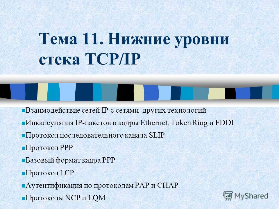 Тема 11. Нижние уровни стека TCP/IP n Взаимодействие сетей IP с сетями других технологий n Инкапсуляция IP-пакетов в кадры Ethernet, Token Ring и FDDI n Протокол последовательного канала SLIP n Протокол PPP n Базовый формат кадра PPP n Протокол LCP n