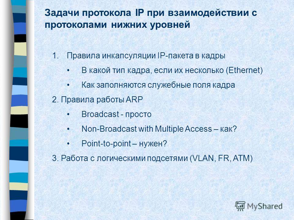Задачи протокола IP при взаимодействии с протоколами нижних уровней 1.Правила инкапсуляции IP-пакета в кадры В какой тип кадра, если их несколько (Ethernet) Как заполняются служебные поля кадра 2. Правила работы ARP Broadcast - просто Non-Broadcast w