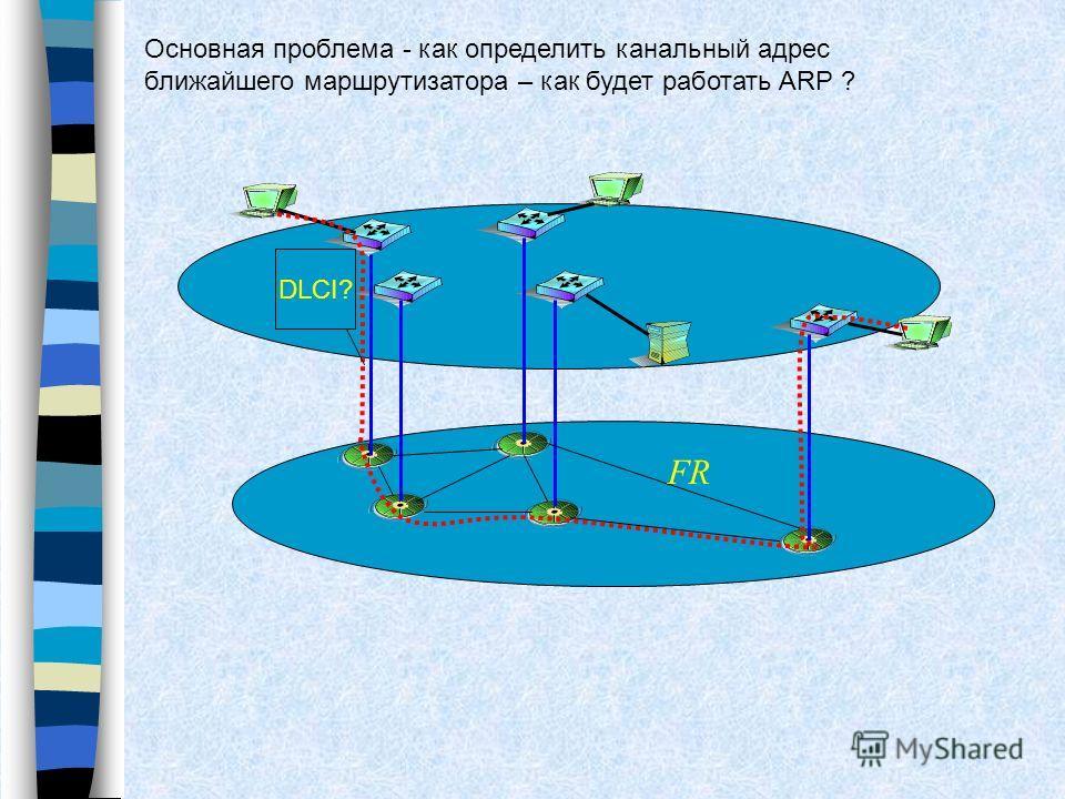 Основная проблема - как определить канальный адрес ближайшего маршрутизатора – как будет работать ARP ? DLCI? FR