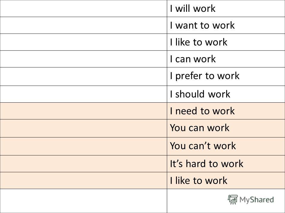 I will work I want to work I like to work I can work I prefer to work I should work I need to work You can work You cant work Its hard to work I like to work