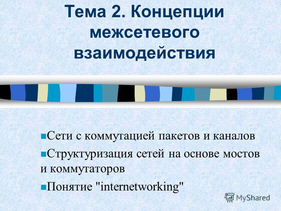 Тема 2. Концепции межсетевого взаимодействия n Сети с коммутацией пакетов и каналов n Структуризация сетей на основе мостов и коммутаторов n Понятие internetworking