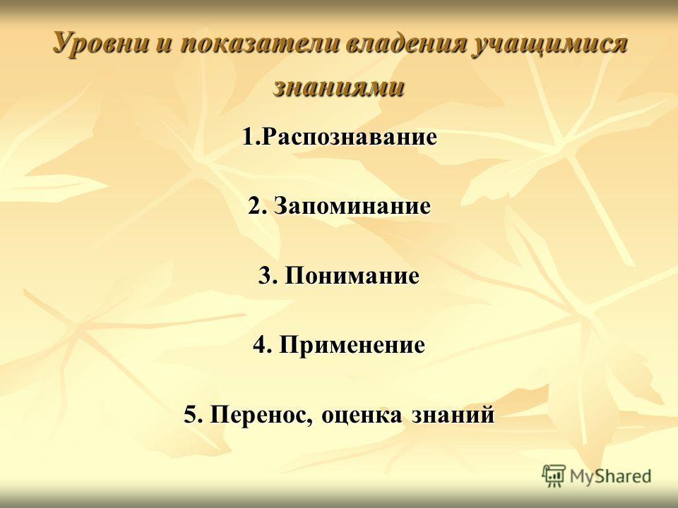 Уровни и показатели владения учащимися знаниями 1.Распознавание 2. Запоминание 3. Понимание 4. Применение 5. Перенос, оценка знаний