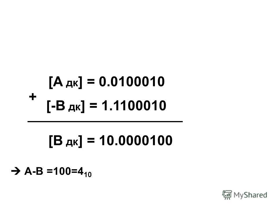 [А дк ] = 0.0100010 [-В дк ] = 1.1100010 + [В дк ] = 10.0000100 А-В =100=4 10