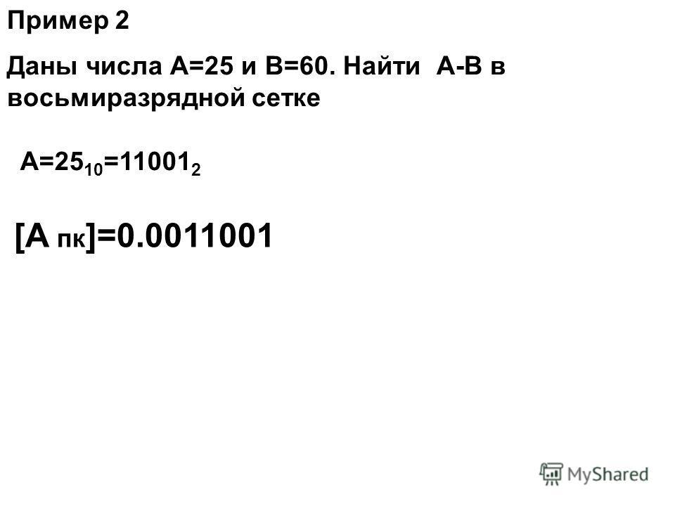 Даны числа А=25 и В=60. Найти А-В в восьмиразрядной сетке Пример 2 А=25 10 =11001 2 [А пк ]=0.0011001