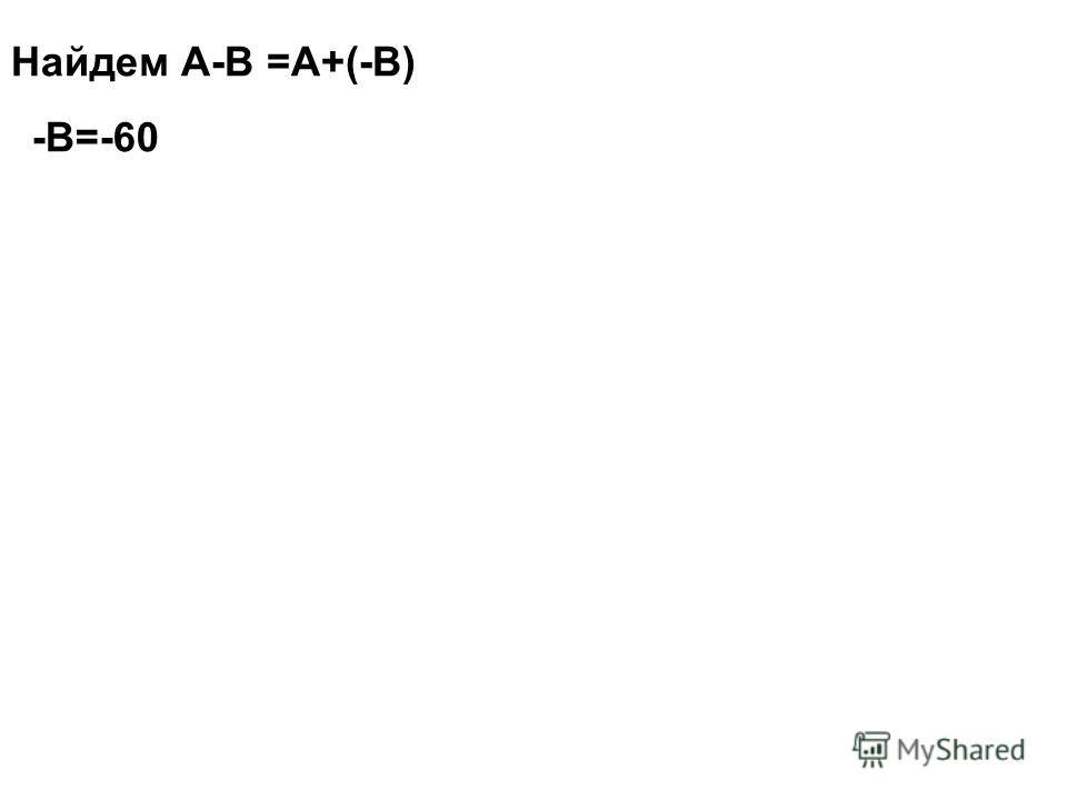 Найдем А-В =А+(-В) -В=-60