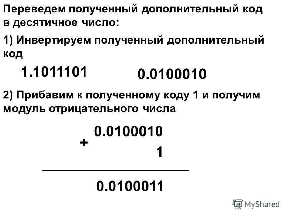 Переведем полученный дополнительный код в десятичное число: 1) Инвертируем полученный дополнительный код 0.0100010 2) Прибавим к полученному коду 1 и получим модуль отрицательного числа 1 + 0.0100011 1.1011101 0.0100010