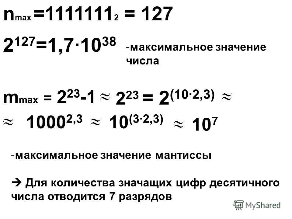 n max =1111111 2 = 127 2 127 =1,7·10 38 m max = 2 23 -1 2 23 = 2 (10·2,3) 1000 2,3 10 (3·2,3) 10 7 -м-максимальное значение числа -м-максимальное значение мантиссы Для количества значащих цифр десятичного числа отводится 7 разрядов