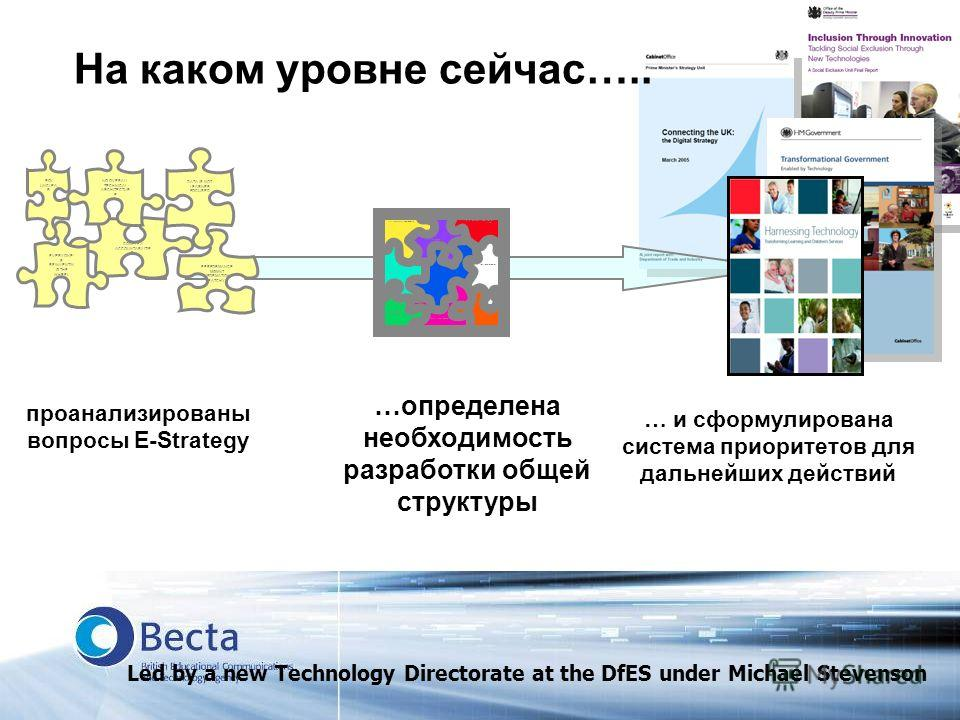 На каком уровне сейчас….. PERFORMANCE MGMNT INFORMATION PATCHY COMPLEX ACCOUNTABILITIE S EVERYONE S REINVENTIN G THE WHEEL DATA IS NOT LEARNER FOCUSED ROI UNCLEA R NO OVERALL TECHNICAL ARCHITECTUR E проанализированы вопросы Е-Strategy E-STRATEGY Impr