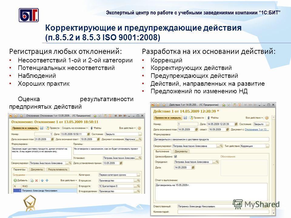 Регистрация любых отклонений: Несоответствий 1-ой и 2-ой категории Потенциальных несоответствий Наблюдений Хороших практик Оценка результативности предпринятых действий Корректирующие и предупреждающие действия (п.8.5.2 и 8.5.3 ISO 9001:2008) Разрабо