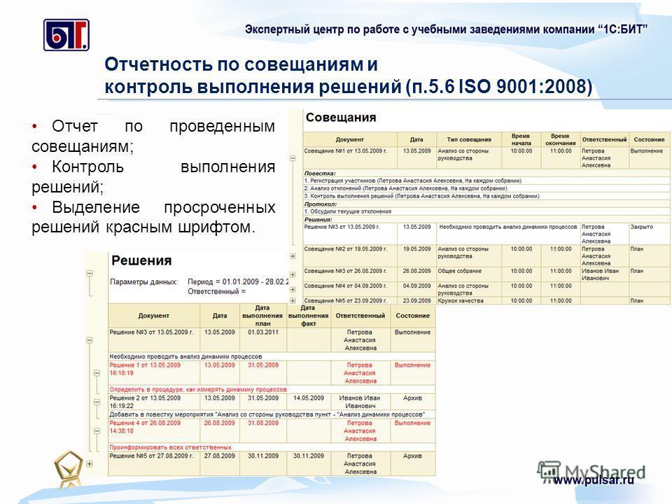 Отчетность по совещаниям и контроль выполнения решений (п.5.6 ISO 9001:2008) Отчет по проведенным совещаниям; Контроль выполнения решений; Выделение просроченных решений красным шрифтом.