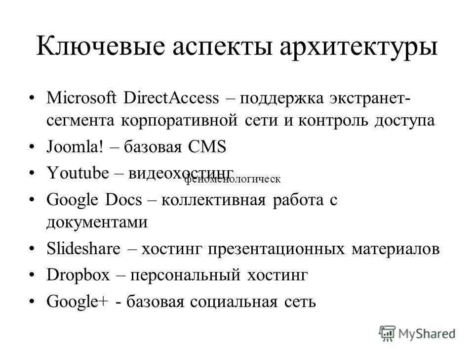 Ключевые аспекты архитектуры Microsoft DirectAccess – поддержка экстранет- сегмента корпоративной сети и контроль доступа Joomla! – базовая CMS Youtube – видеохостинг Google Docs – коллективная работа с документами Slideshare – хостинг презентационны