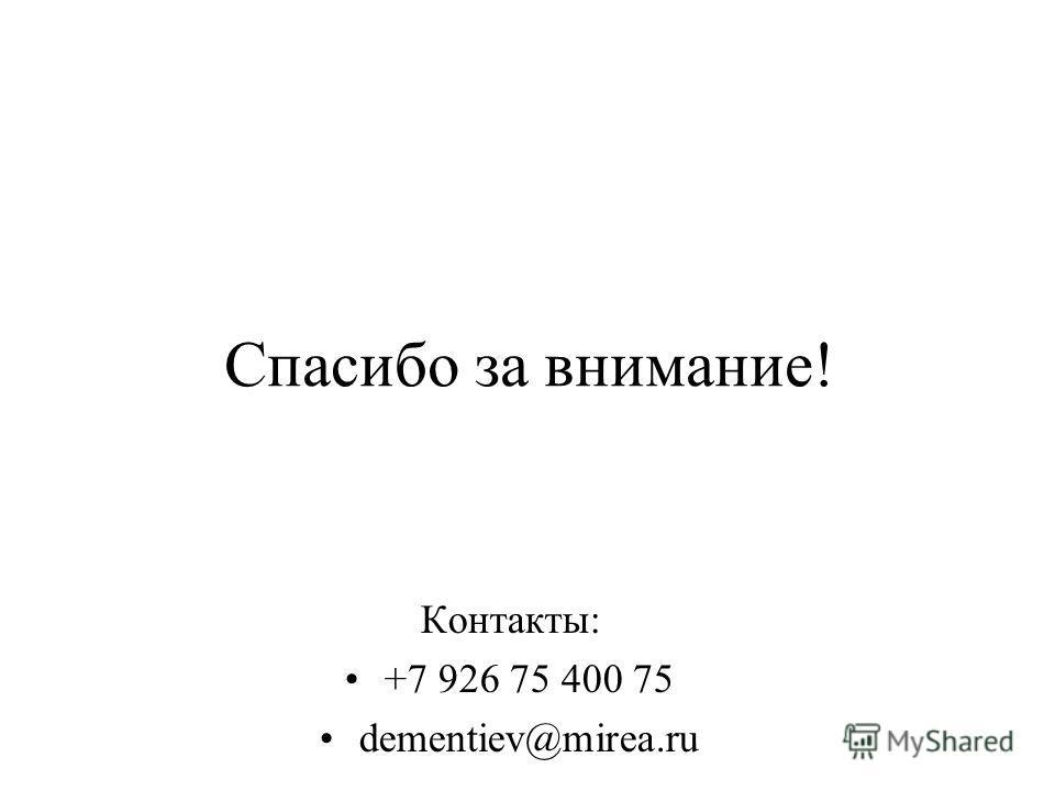 Спасибо за внимание! Контакты: +7 926 75 400 75 dementiev@mirea.ru