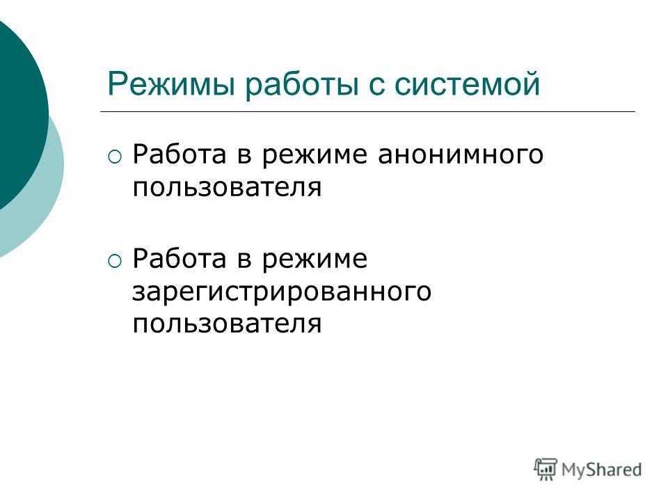 Режимы работы с системой Работа в режиме анонимного пользователя Работа в режиме зарегистрированного пользователя