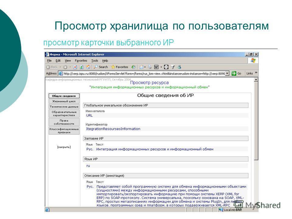 Просмотр хранилища по пользователям просмотр карточки выбранного ИР