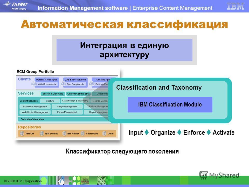 © 2008 IBM Corporation Information Management software | Enterprise Content Management Автоматическая классификация Интеграция в единую архитектуру Classification and Taxonomy IBM Classification Module Классификатор следующего поколения Input Organiz