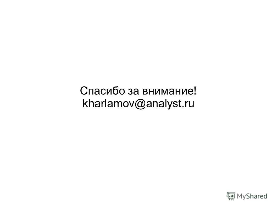 Спасибо за внимание! kharlamov@analyst.ru