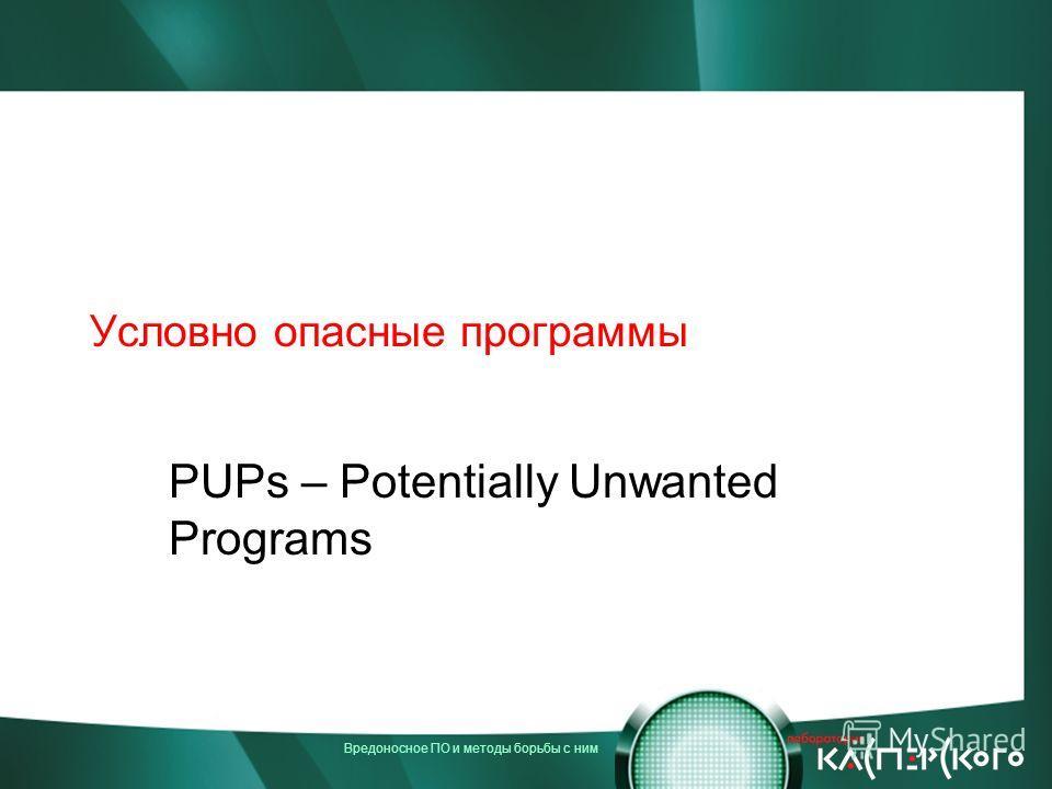 Вредоносное ПО и методы борьбы с ним Условно опасные программы PUPs – Potentially Unwanted Programs