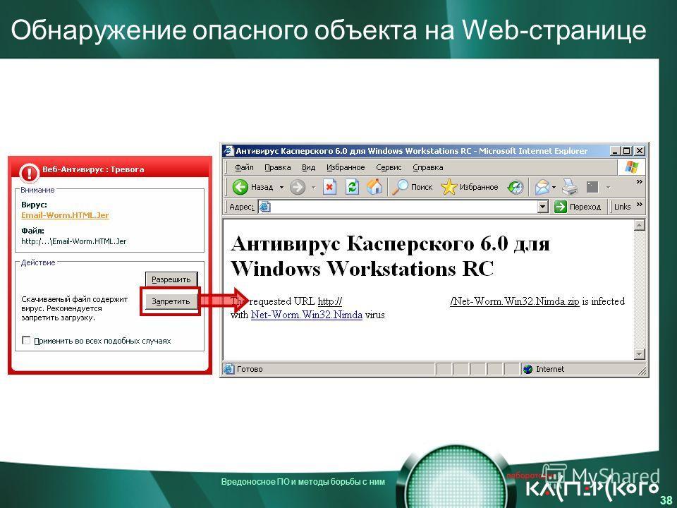 Вредоносное ПО и методы борьбы с ним 38 Обнаружение опасного объекта на Web-странице