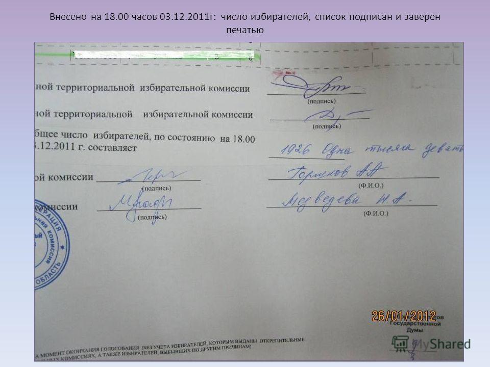 Внесено на 18.00 часов 03.12.2011г: число избирателей, список подписан и заверен печатью