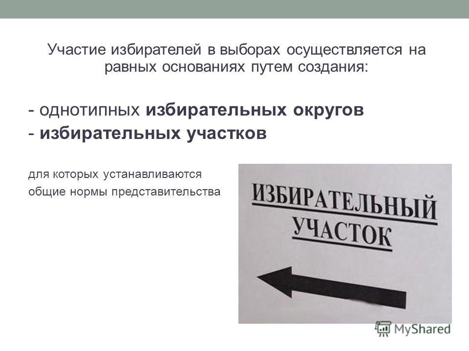 Участие избирателей в выборах осуществляется на равных основаниях путем создания: - однотипных избирательных округов - избирательных участков для которых устанавливаются общие нормы представительства