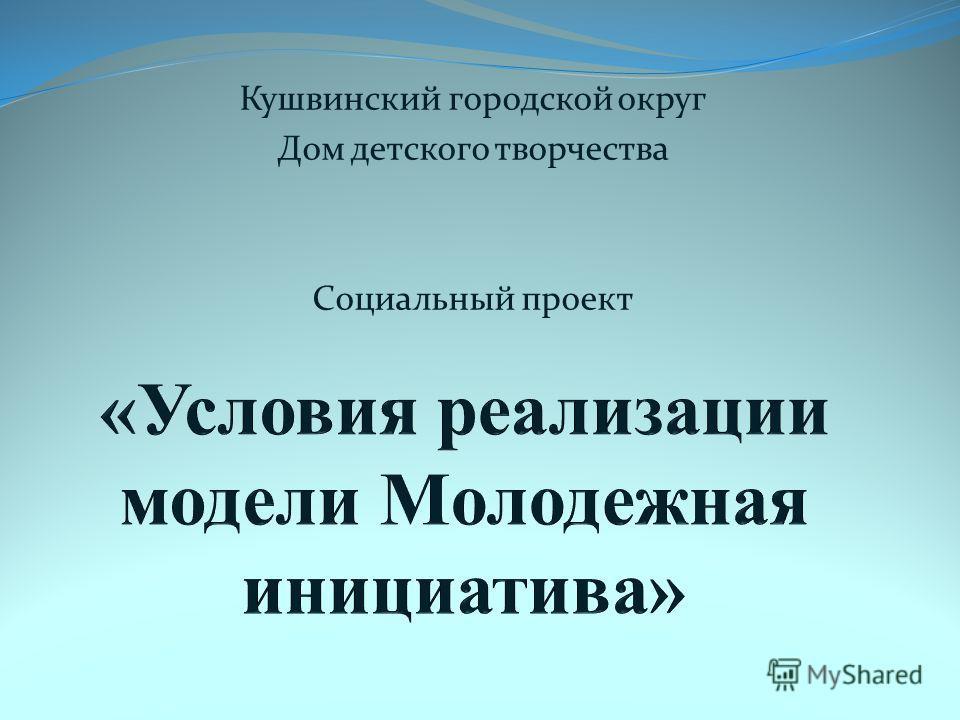 Кушвинский городской округ Дом детского творчества Социальный проект