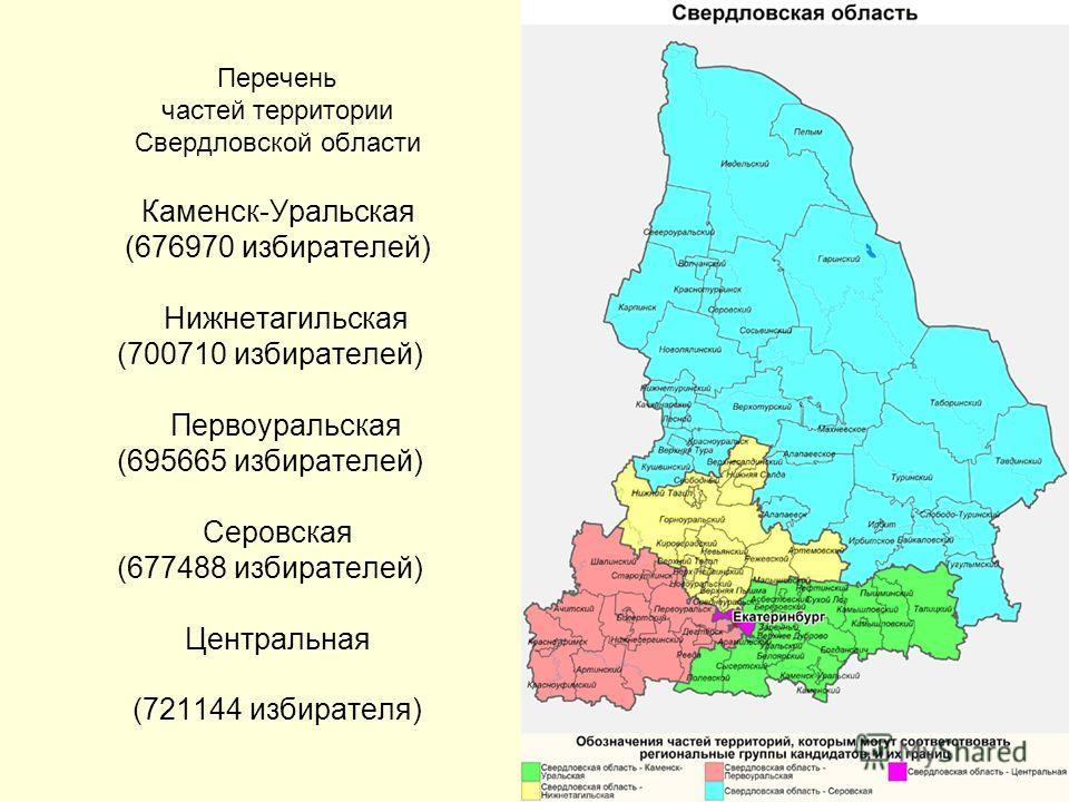 Перечень частей территории Свердловской области Каменск-Уральская (676970 избирателей) Нижнетагильская (700710 избирателей) Первоуральская (695665 избирателей) Серовская (677488 избирателей) Центральная (721144 избирателя)