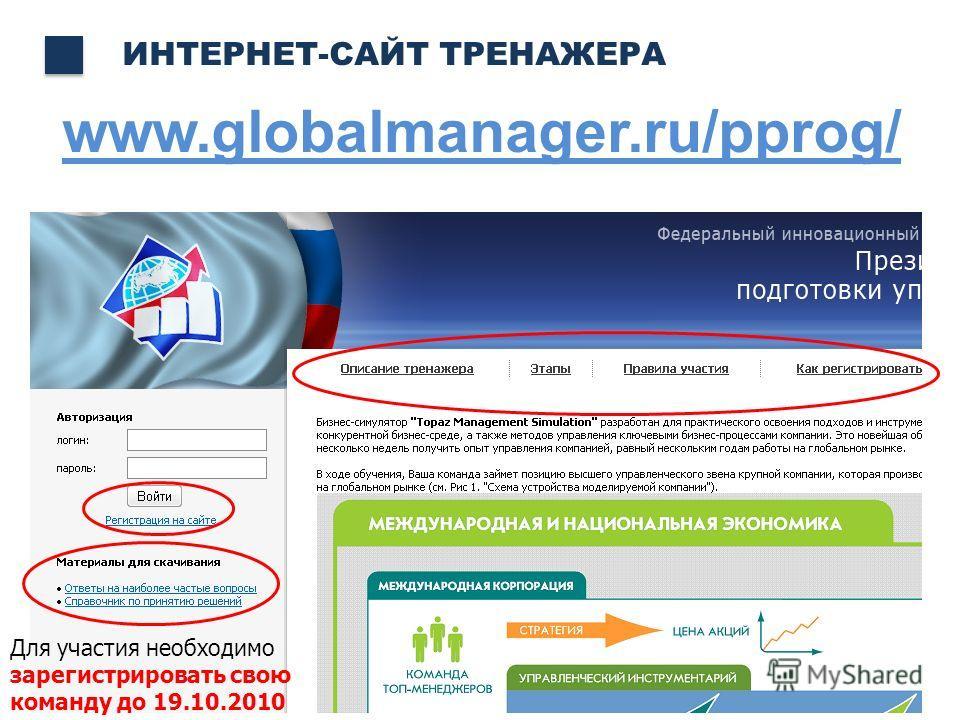 www.globalmanager.ru/pprog/ ИНТЕРНЕТ-САЙТ ТРЕНАЖЕРА Для участия необходимо зарегистрировать свою команду до 19.10.2010