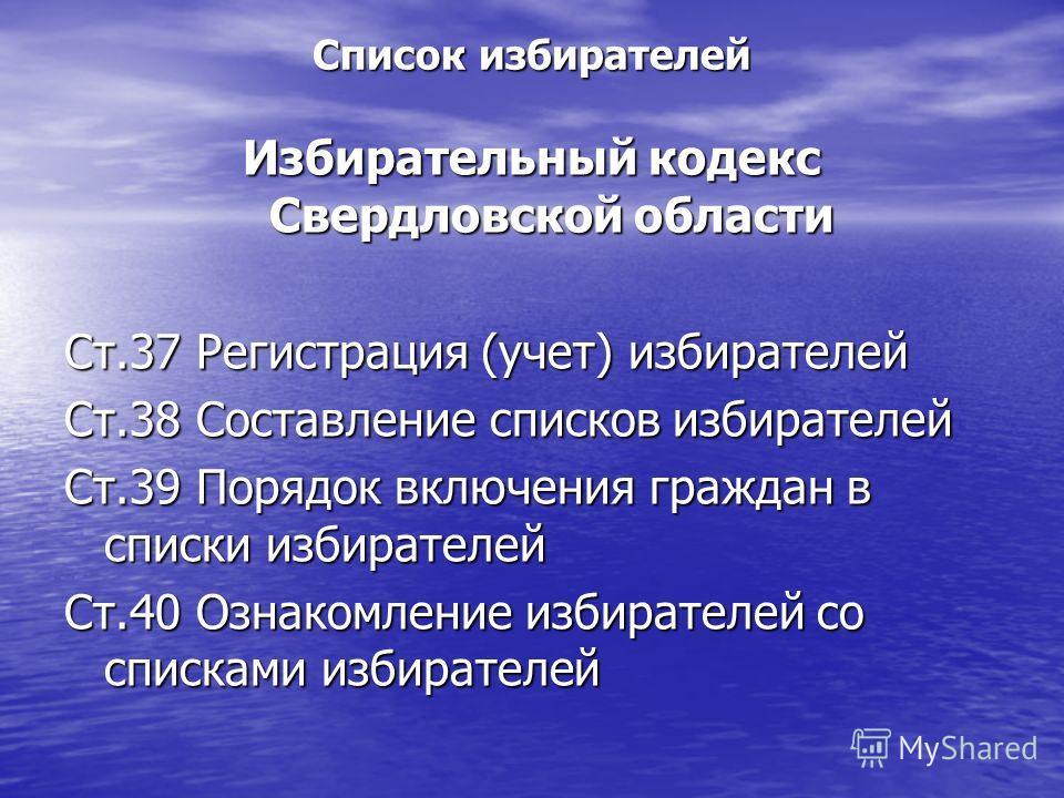 Список избирателей Избирательный кодекс Свердловской области Ст.37 Регистрация (учет) избирателей Ст.38 Составление списков избирателей Ст.39 Порядок включения граждан в списки избирателей Ст.40 Ознакомление избирателей со списками избирателей