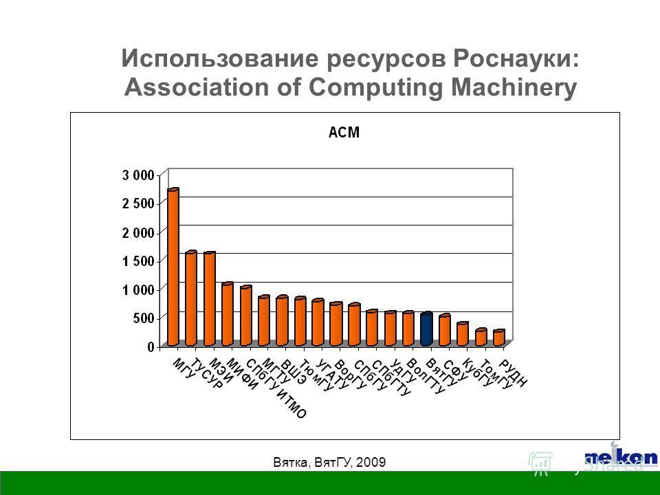 Вятка, ВятГУ, 2009 Использование ресурсов Роснауки: Association of Computing Machinery