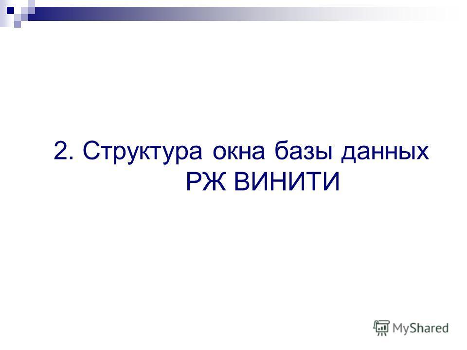 2. Структура окна базы данных РЖ ВИНИТИ