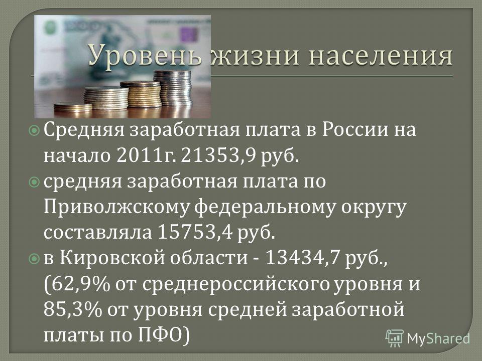 Средняя заработная плата в России на начало 2011 г. 21353,9 руб. средняя заработная плата по Приволжскому федеральному округу составляла 15753,4 руб. в Кировской области - 13434,7 руб., (62,9% от среднероссийского уровня и 85,3% от уровня средней зар