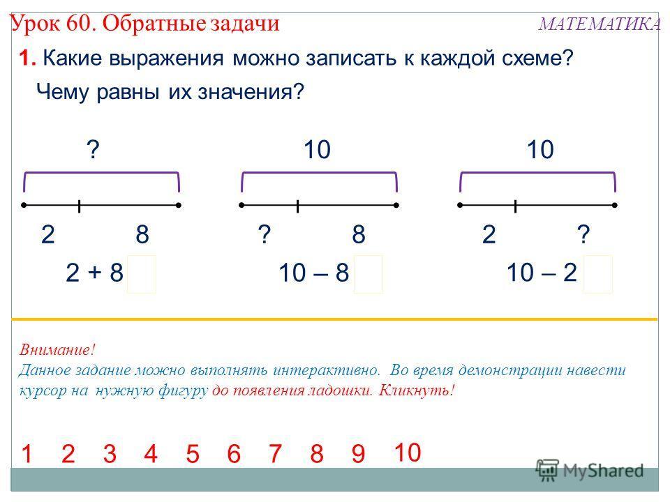? 82 1. Какие выражения можно записать к каждой схеме? 10 8??2 8 2 + 810 – 8 10 – 2 Чему равны их значения? === 14567392 Внимание! Данное задание можно выполнять интерактивно. Во время демонстрации навести курсор на нужную фигуру до появления ладошки