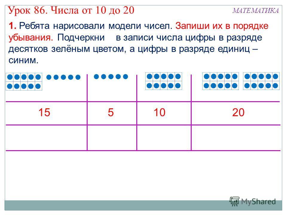 1. Ребята нарисовали модели чисел. Запиши их в порядке убывания. Подчеркни в записи числа цифры в разряде десятков зелёным цветом, а цифры в разряде единиц – синим. 1551020 Урок 86. Числа от 10 до 20 МАТЕМАТИКА