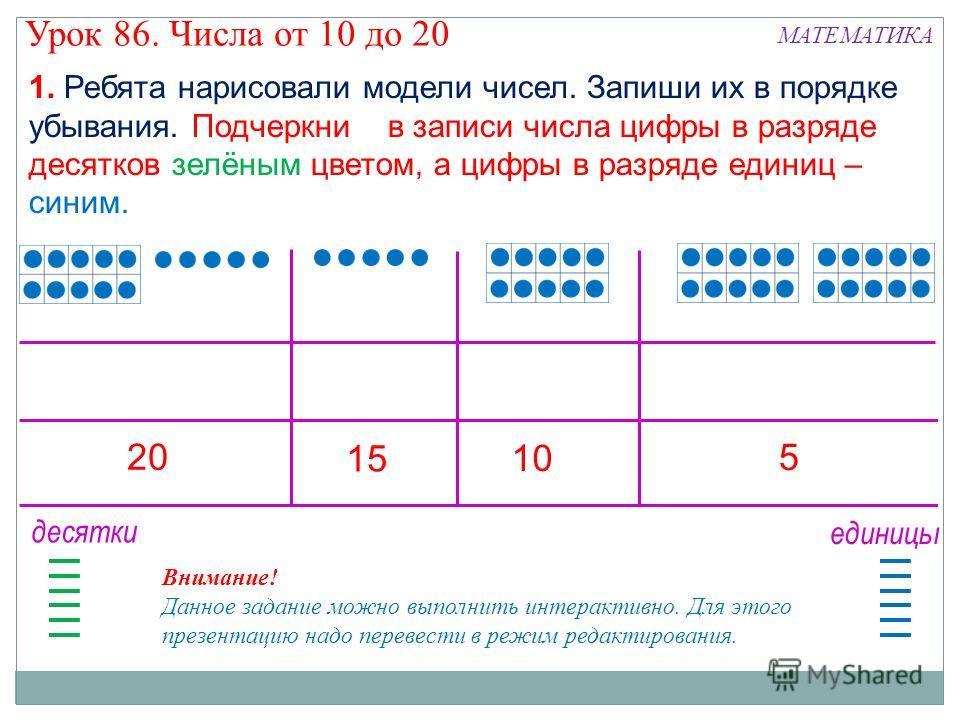1. Ребята нарисовали модели чисел. Запиши их в порядке убывания. Подчеркни в записи числа цифры в разряде десятков зелёным цветом, а цифры в разряде единиц – синим. 20 15 10 5 Внимание! Данное задание можно выполнить интерактивно. Для этого презентац
