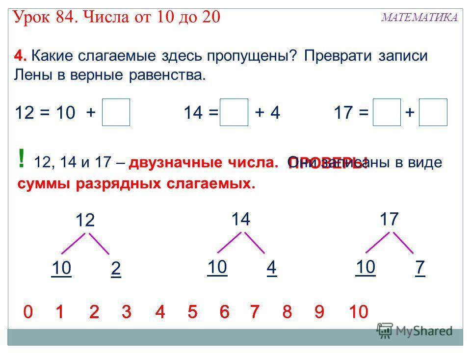 4. Какие слагаемые здесь пропущены? Преврати записи Лены в верные равенства. 12 = 10 + 214 = 10 + 417 = 10 + 7 1234567123456712345671234567898910 00 ПРОВЕРЬ! ! 12, 14 и 17 – двузначные числа. Они записаны в виде суммы разрядных слагаемых. 12 10 2 14