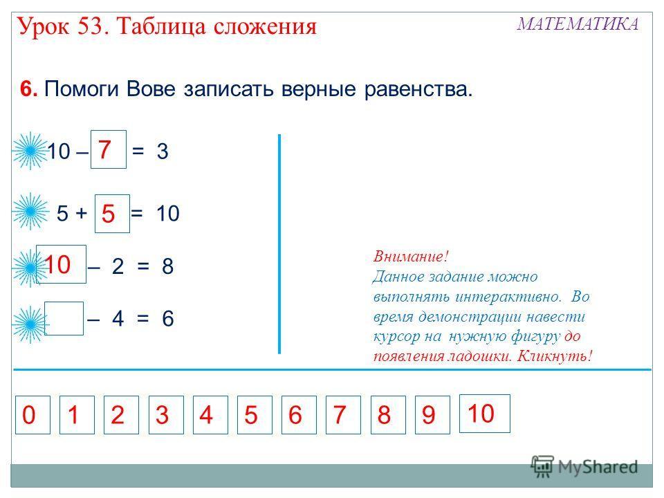 5 10 – = 3 7 – 2 = 8 10 5 + = 10 6. Помоги Вове записать верные равенства. – 4 = 6 10 7136892405 7 5 Внимание! Данное задание можно выполнять интерактивно. Во время демонстрации навести курсор на нужную фигуру до появления ладошки. Кликнуть! Урок 53.