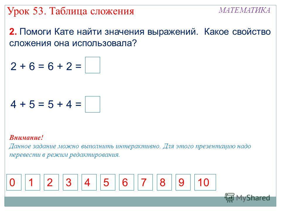 2. Помоги Кате найти значения выражений. Какое свойство сложения она использовала? 571368924100 4 + 5 = 5 + 4 = 2 + 6 = 6 + 2 = Урок 53. Таблица сложения МАТЕМАТИКА Внимание! Данное задание можно выполнить интерактивно. Для этого презентацию надо пер