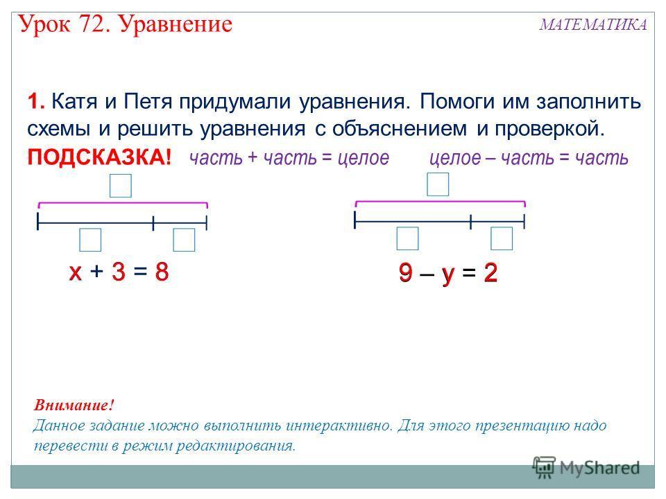 х + 3 = 8 часть + часть = целое ПОДСКАЗКА! целое – часть = часть 1. Катя и Петя придумали уравнения. Помоги им заполнить схемы и решить уравнения с объяснением и проверкой. 9 – у = 2 83 х 9 у 2 Внимание! Данное задание можно выполнить интерактивно. Д