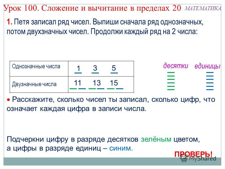 Урок 100. Сложение и вычитание в пределах 20 МАТЕМАТИКА Расскажите, сколько чисел ты записал, сколько цифр, что означает каждая цифра в записи числа. Подчеркни цифру в разряде десятков зелёным цветом, а цифры в разряде единиц – синим. Однозначные чис