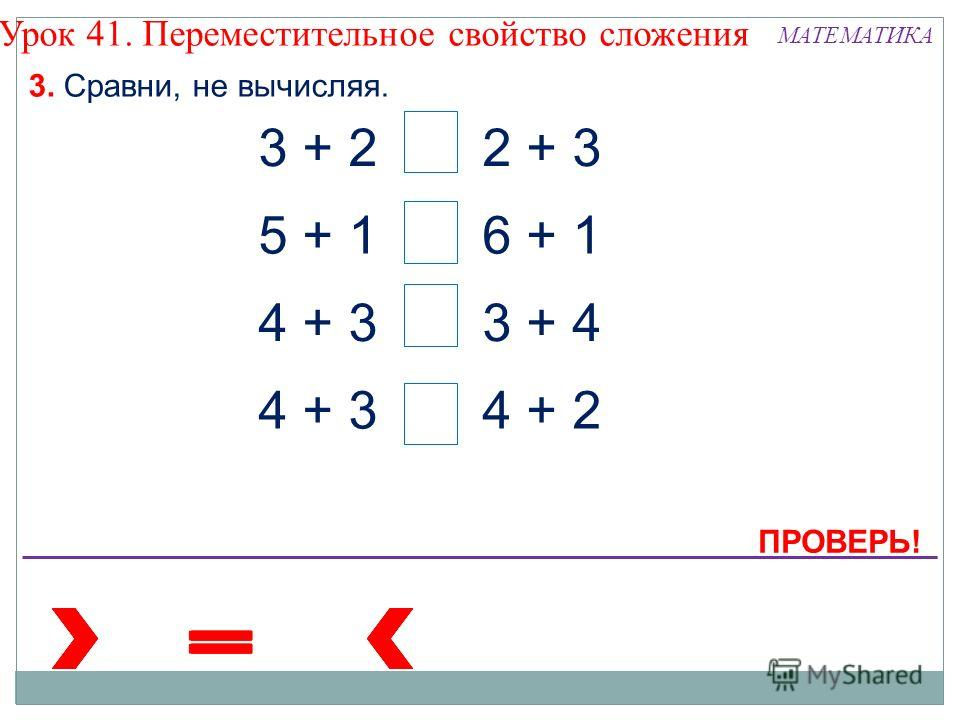 3. Сравни, не вычисляя. 3 + 22 + 3 5 + 16 + 1 4 + 3 3 + 4 4 + 2 Урок 41. Переместительное свойство сложения ПРОВЕРЬ! МАТЕМАТИКА
