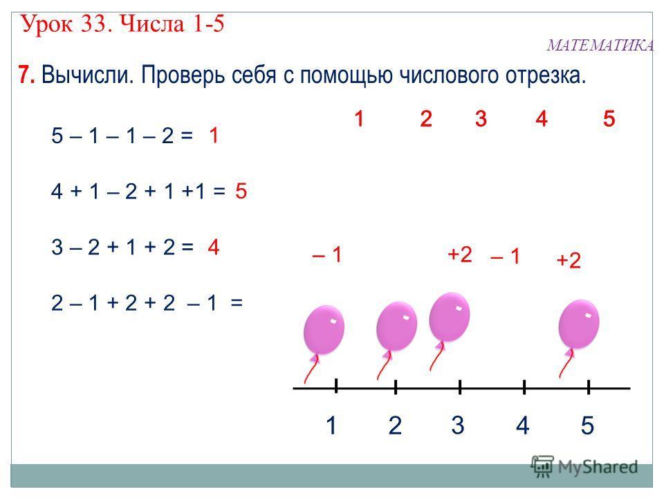 7. Вычисли. Проверь себя с помощью числового отрезка. МАТЕМАТИКА Урок 33. Числа 1-5 5 – 1 – 1 – 2 = 4 + 1 – 2 + 1 +1 = 3 – 2 + 1 + 2 = 2 – 1 + 2 + 2 – 1 = 1245 3 43 21 5 43 21 5 4 3 2 1 5 +2– 1 5 +2 – 1