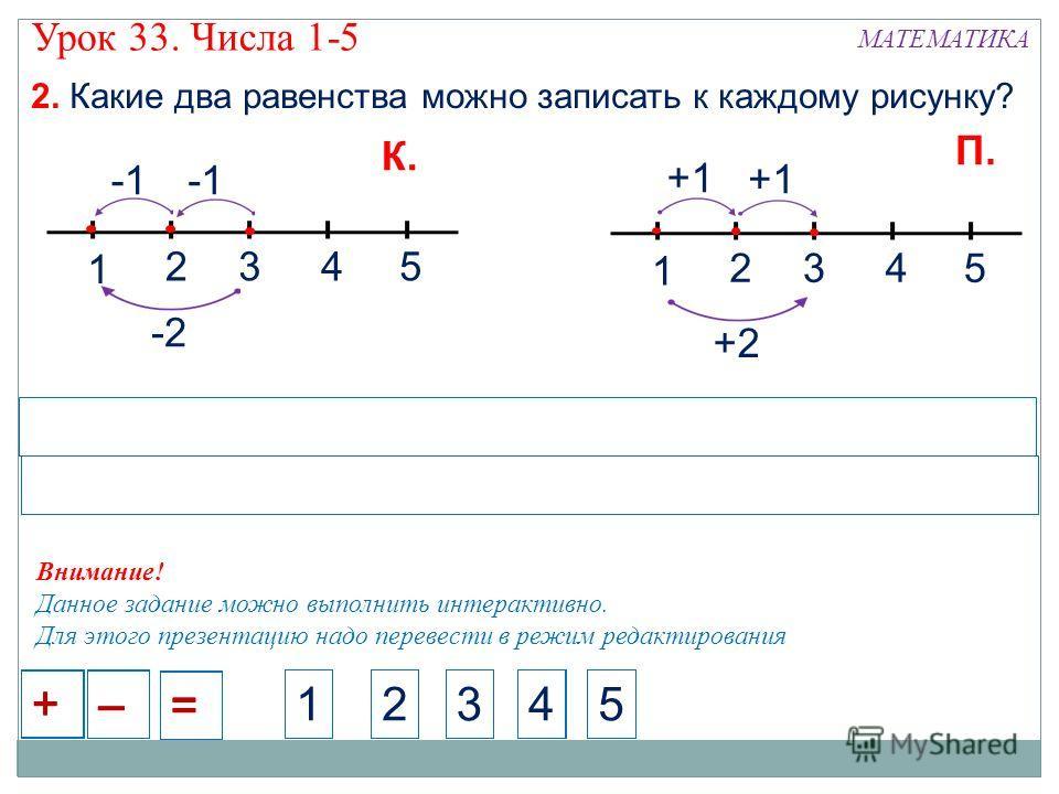 МАТЕМАТИКА Урок 33. Числа 1-5 2. Какие два равенства можно записать к каждому рисунку? 1 245 +1 3 +2 2451451233 1 245 3 -2 – + = – + = – + = – + = – + = – + = 2451451233 К. П. Внимание! Данное задание можно выполнить интерактивно. Для этого презентац
