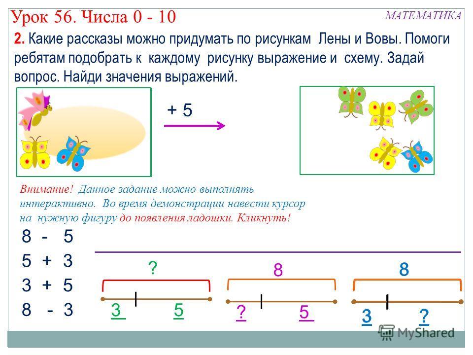+ 5 8 - 5 8 - 3 5 + 3 3 + 5 ?3 8 ? 8 5 ? 35 2. Какие рассказы можно придумать по рисункам Лены и Вовы. Помоги ребятам подобрать к каждому рисунку выражение и схему. Задай вопрос. Найди значения выражений. МАТЕМАТИКА Урок 56. Числа 0 - 10 Внимание! Да