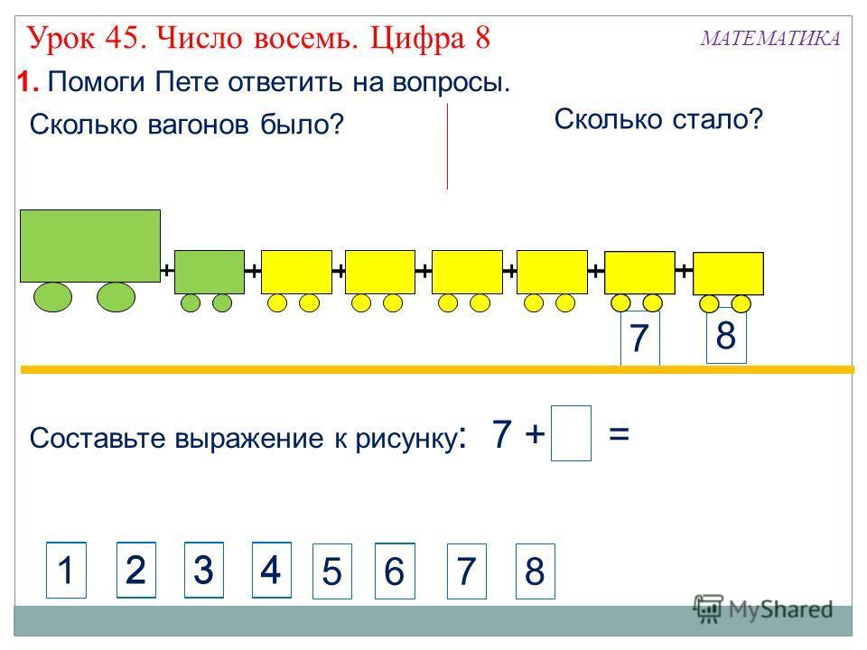 Составьте выражение к рисунку : 7 + 1 = 8 7 8 1. Помоги Пете ответить на вопросы. МАТЕМАТИКА Сколько стало? Сколько вагонов было? 423 4123 6 1 1 Урок 45. Число восемь. Цифра 8 6 578
