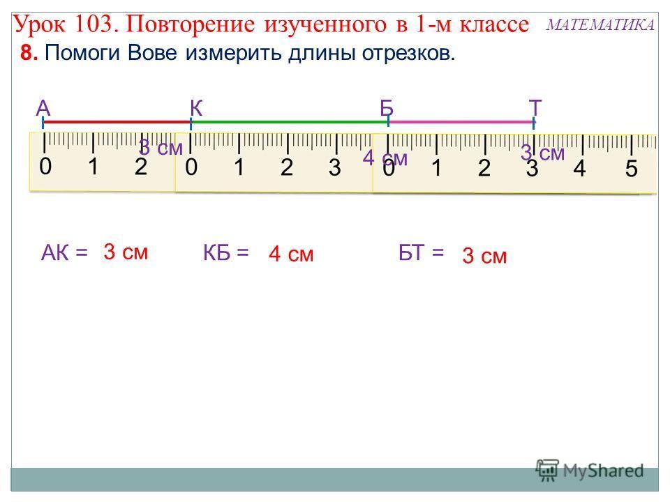 8. Помоги Вове измерить длины отрезков. МАТЕМАТИКА АКБТ АК =КБ =БТ = 3 см 4 см 3 см 4 см 3 см Урок 103. Повторение изученного в 1-м классе