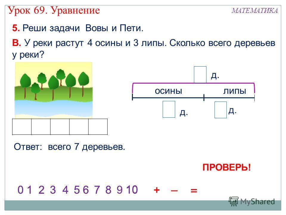 5. Реши задачи Вовы и Пети. В. У реки растут 4 осины и 3 липы. Сколько всего деревьев у реки? 1245736981001245736 = 8 0 + – = + + д. осинылипы 4 3 ? Ответ: всего 7 деревьев. Урок 69. Уравнение МАТЕМАТИКА ПРОВЕРЬ!